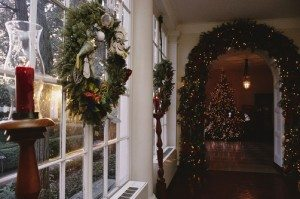 The East Colonnade is decked with wreaths, garland, and candles.
